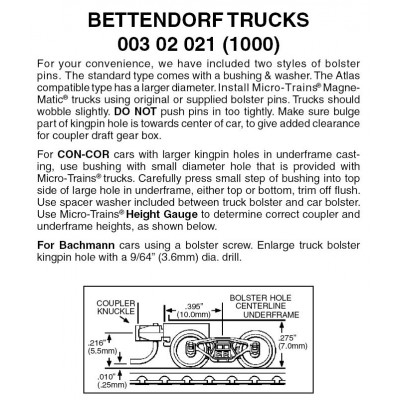 Bettendorf Trucks w/ short ext. couplers 1 pr (1000)
