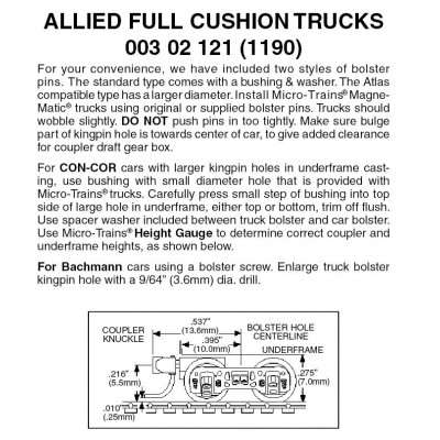 Allied Full Cushion Trucks w/short ext.couplers 1 pr. (1190)