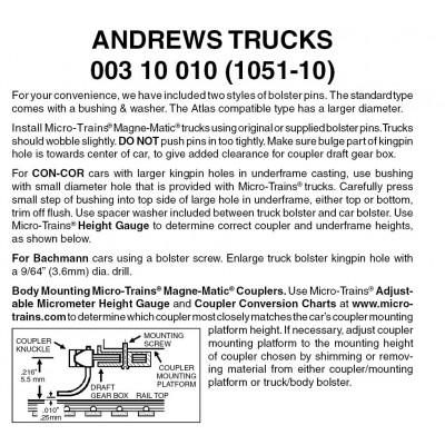 N Scale Micro-Train Couplers ROLLER BEARING TRUCKS  10 PACK # 003-10-032