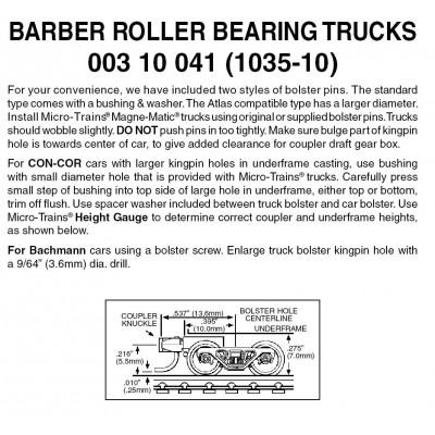 Barber Roller Bearing Trucks w/ short ext. couplers 10 pr (1035-10)
