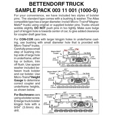 Bettendorf Trucks sampler pack 3 pr (1000-S)