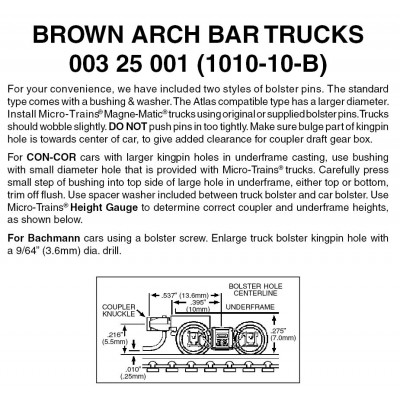 BROWN Arch Bar w/ short ext. couplers10 pr. (1010-10B)